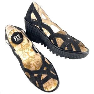 EUC Fly London leather wedge sandals